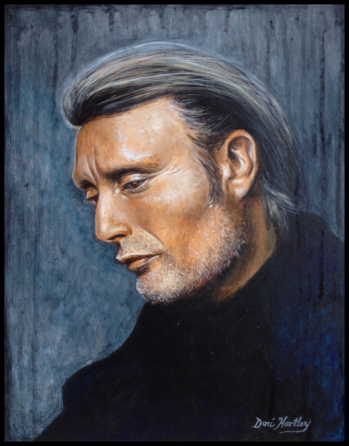 Mads Mikkelson painting by Dori Hartley